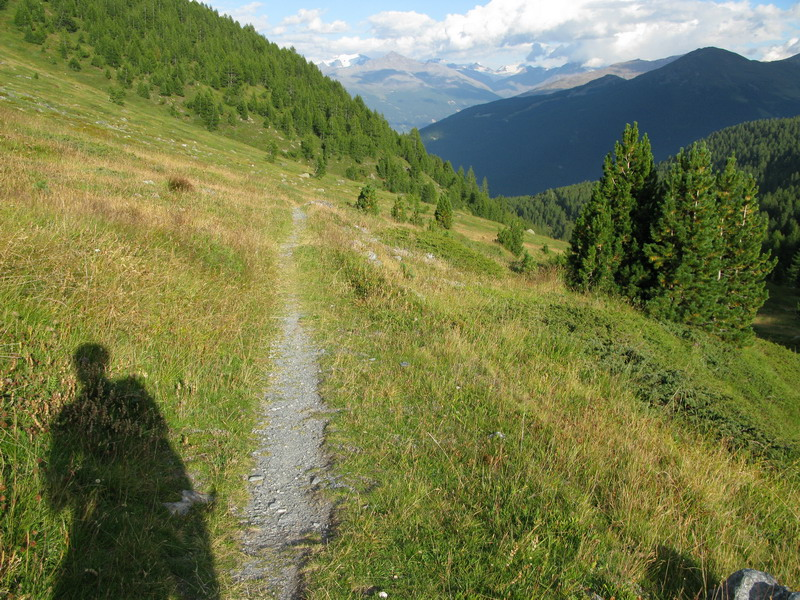 Zapadajúce slnko, trail za passom Foscagno.